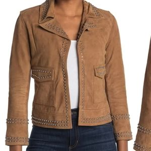 ALL SAINTS Studded Tan Brown Suede Jacket
